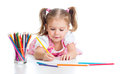 Cute Girl Drawing A Picture With Color Pencils Stock Image - 27321471