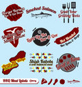 Vector Set: Retro BBQ And Meats Labels Royalty Free Stock Photos - 27356328