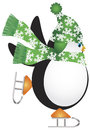 Penguin With Green Hat Ice Skating Illustration Royalty Free Stock Photo - 27357575