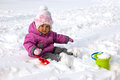 Little Girl Playing With Snow Outdoors Royalty Free Stock Image - 27369146