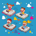 Kids Flying On Books Stock Image - 27384291