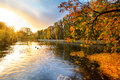 Beautiful Park Pond In Autumn At Sunset Royalty Free Stock Photo - 27384625