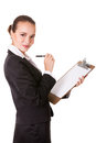 Young Businesswoman With Pen And Clipboard Stock Images - 27394124