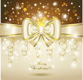 Greeting Card With White Bow. Royalty Free Stock Photography - 27402127