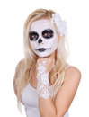 Skull Makeup On Young Girl Stock Photography - 27410312