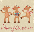 Cute Reindeers Christmas Card Royalty Free Stock Photography - 27433597