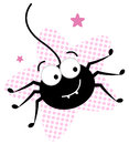 Cute Crazy Black Spider In Pink Star Stock Images - 27435474