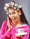 Woman Wear Hair Curlers On Head. Stock Images - 27442114