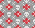Knitted Pattern With Skulls Stock Image - 27463091