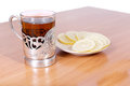 Hot Tea In A Retro Glass On The Table Stock Photography - 27469532