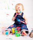 Cute Little Baby Painting Splatter Colours Stock Image - 27474191