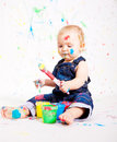 Cute Little Baby Painting Splatter Colours Stock Photo - 27474580