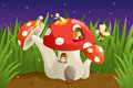 Mushroom House With Fireflies Stock Images - 27493394