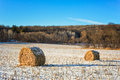 Haystacks On The Frozen Field Royalty Free Stock Images - 27499109
