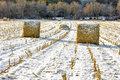 Haystacks On The Frozen Field Stock Images - 27499294