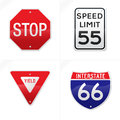 Hyper Realistic Vector Road Signs Stock Image - 27512911