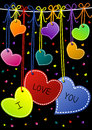 I Love You Hanging Hearts Valentines Day Cards Royalty Free Stock Image - 27513296