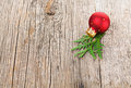 Red Christmas Ball On Wooden Background Stock Photography - 27520082