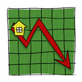 House Prices Going Down Illustrated Graph Royalty Free Stock Photos - 27543448