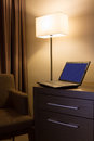 Laptop On Desk In Hotel Room Royalty Free Stock Photo - 27559915