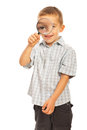 Boy Looking Through Magnifier Stock Image - 27563361