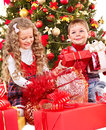 Kids With Christmas Gift Box. Stock Image - 27569151