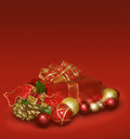 Christmas Gift And Balls Royalty Free Stock Photo - 27586985