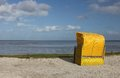 Yellow Beach Chair On The North Sea Stock Photo - 27630240