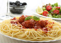 Spaghetti Meat Balls  With Tomato Royalty Free Stock Images - 27630399