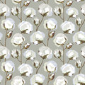 Seamless Texture With Cotton Flower Leaves Royalty Free Stock Photography - 27641827