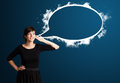 Young Woman With Abstract Modern Speech Bubble Royalty Free Stock Image - 27643516