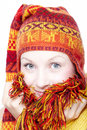 Young woman in ethnic hat Stock Image