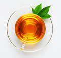 Cup With Tea And Green Leaf Stock Images - 27648944