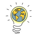 Planet Earth In Light Bulb  Cartoon. Royalty Free Stock Image - 27655076