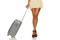 Woman Legs With A Suitcase Royalty Free Stock Photos - 27680948