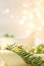 Christmas Background With Spruce And Beads Stock Photo - 27681990