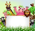 Wild African Animal Cartoon With Blank Sign Stock Images - 27687934