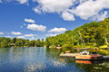 Cottages On Lake With Docks Stock Photos - 27689723