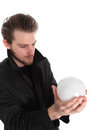 Man Holding A Glass Ball Stock Image - 27692631