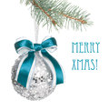 Sparkling Xmas Ball With Blue Ribbon Royalty Free Stock Images - 27699269