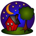 Nighttime Scene House Clip Art Royalty Free Stock Image - 2776076