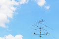 Blue Sky With Old Tv Antenna Stock Photo - 27713980