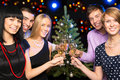 Portrait Of Friends Celebrating Christmas Royalty Free Stock Images - 27737519