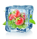 Ice Cube And Strawberry Isolated Stock Image - 27737641