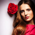 Beauty Girl With Rose Stock Photo - 27739820