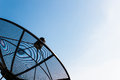 Old Single Satellite Dish With Twilight Blue Sky Royalty Free Stock Images - 27749049