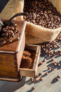 Ground Coffee In An Old Fashioned Grinder Stock Photography - 27749652