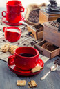 All Ingredients For A Well-brewed Cup Of Coffee Royalty Free Stock Image - 27749786