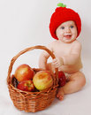 Baby Girl With Apple Basket Royalty Free Stock Photos - 27752338