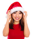Asian Woman In Santa Clause Hat Stock Photo - 27757780